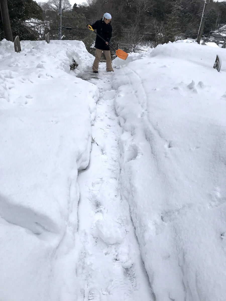 宝泉寺境内の雪かき