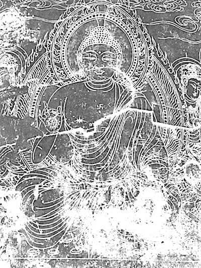 蓮華座に描かれた須弥山