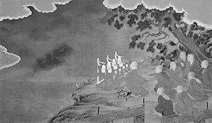 神泉苑で雨を祈るイメージ(弘法大師行状図、高野山大師教会大講堂)