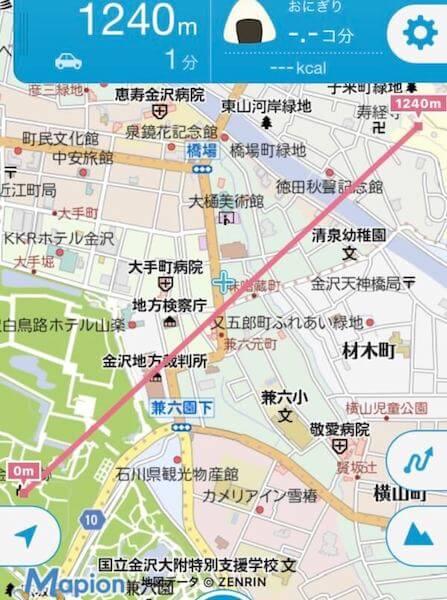 金沢城から宝泉寺までの直線距離(キョリ側 )